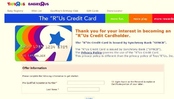 Toys R Us Credit Card - Login, Account